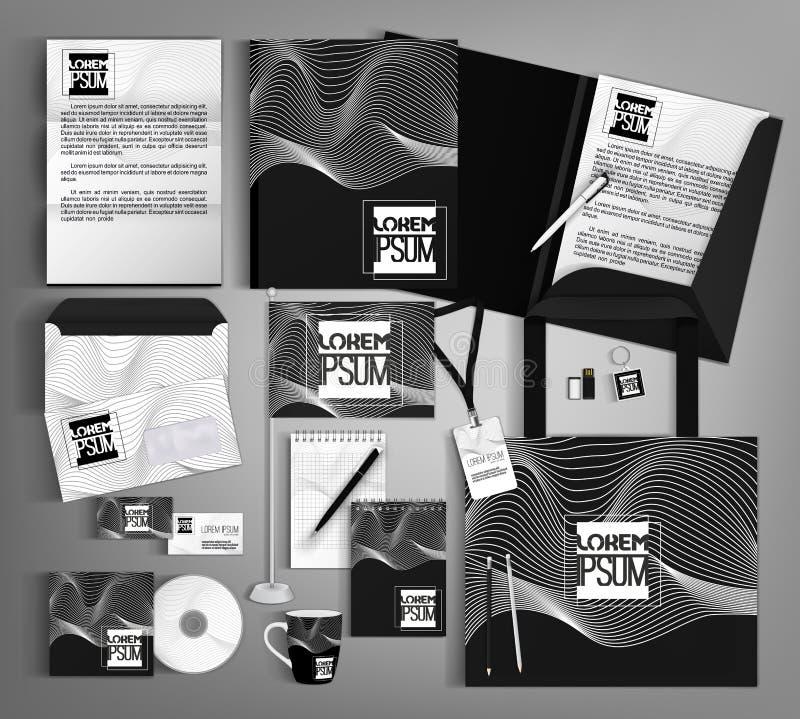 Diseño de la plantilla de la identidad corporativa con una onda blanco y negro libre illustration