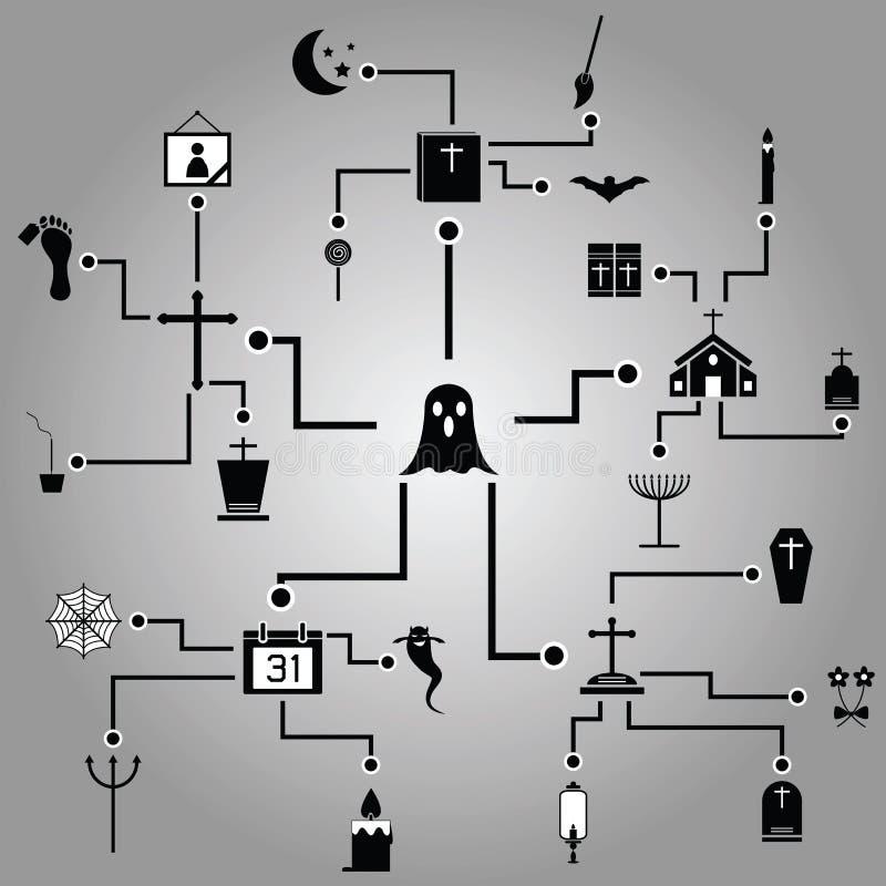 Diseño de la plantilla de Infographic Halloween ilustración del vector