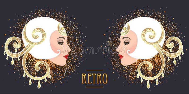 Diseño de la plantilla de la invitación del vintage de Art Deco con el ejemplo de ilustración del vector