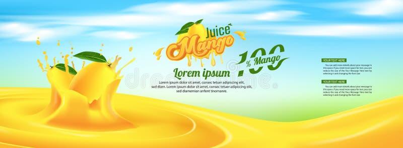 Diseño de la plantilla de Juice Advertising Banner Ads Vector del mango ilustración del vector