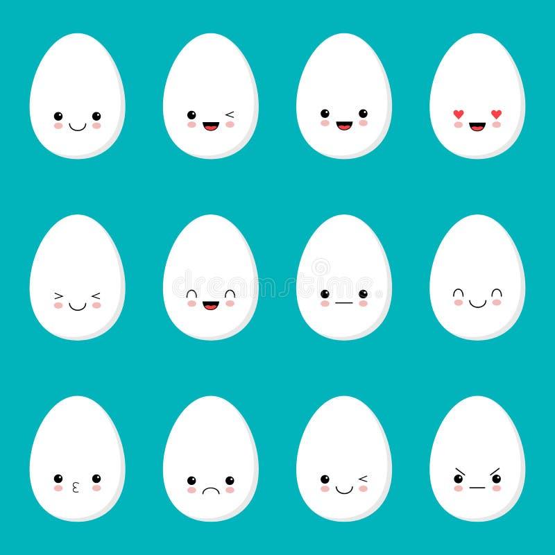 Dise?o de la plantilla de los huevos de Pascua para las tarjetas del saludo y de la invitaci?n Estilo de Kawaii libre illustration