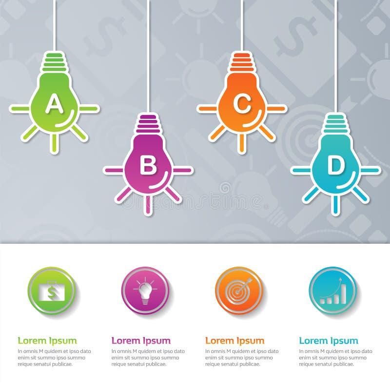 Diseño de la plantilla de la presentación de Infographic, concepto del negocio con 4 pasos o procesos, stock de ilustración