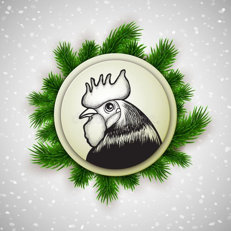 Diseño 2017, de la postal del Año Nuevo surroun dibujado mano del símbolo del gallo ilustración del vector