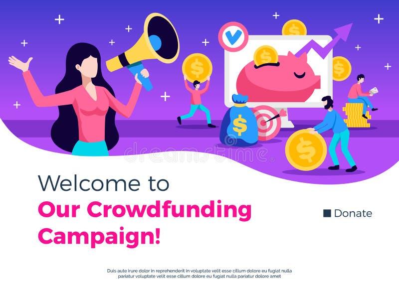 Diseño de la promoción de la campaña de Crowdfunding libre illustration