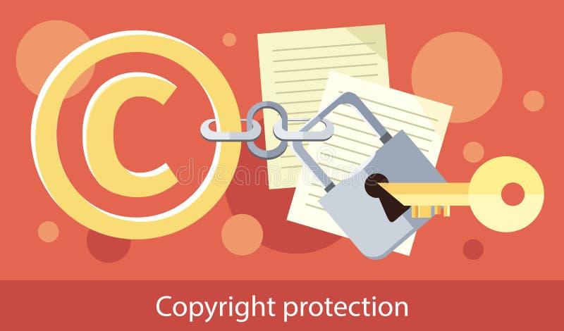 Diseño de la protección de Copyright plano stock de ilustración