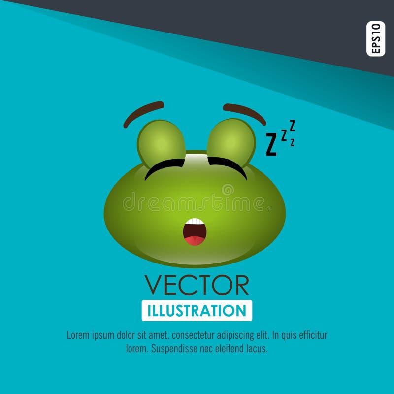 diseño de la rana el dormir stock de ilustración
