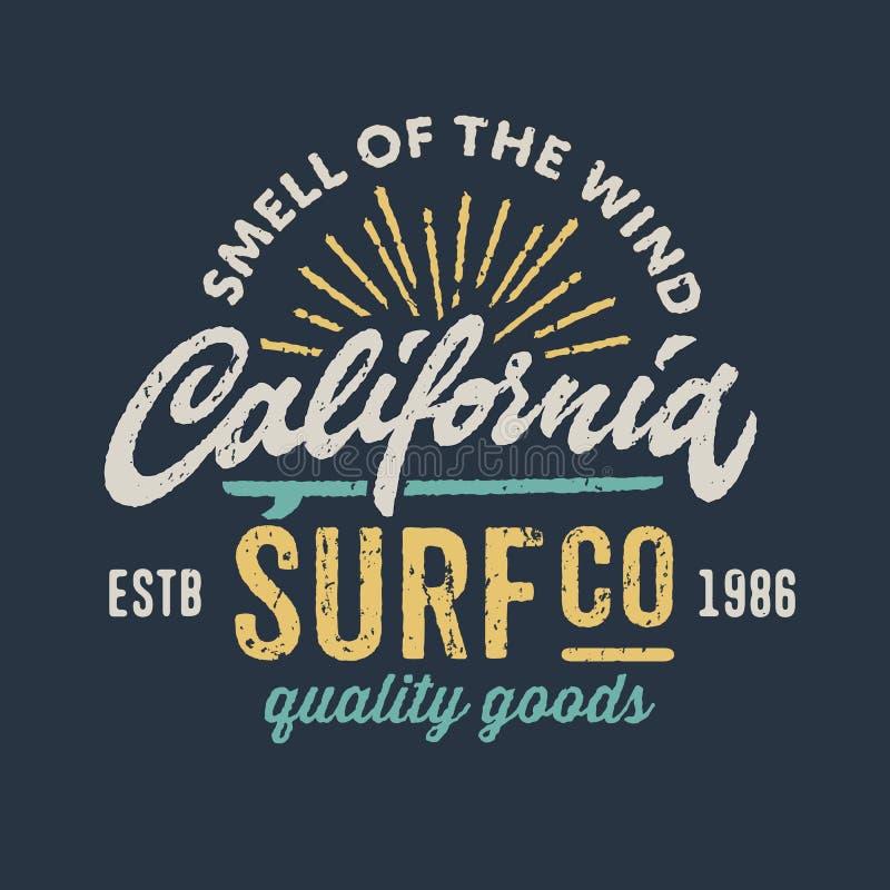 Diseño de la ropa del vintage para la compañía que practica surf ilustración del vector