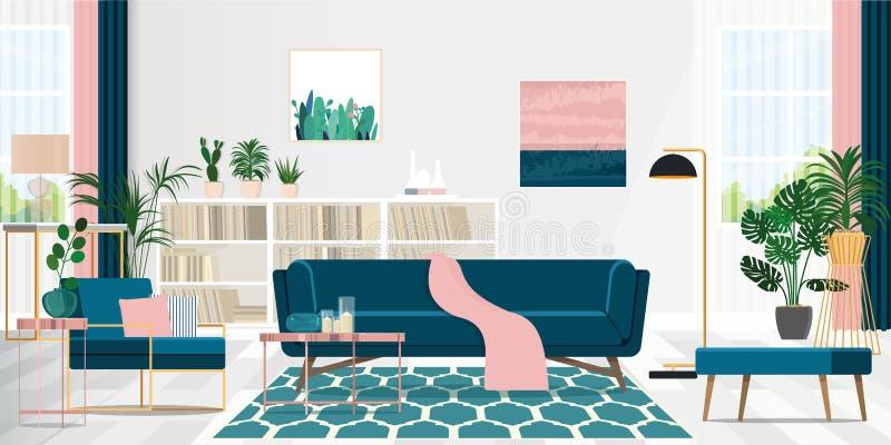 Diseño de la sala de estar en rosa y azul interiores con muebles acogedores Ejemplo plano del vector libre illustration
