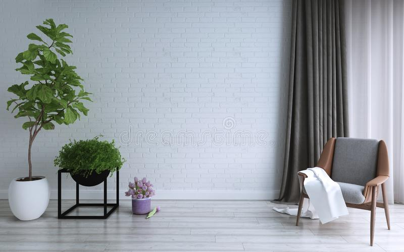 Diseño de la sala de estar, interior del desván moderno y estilo mínimo libre illustration