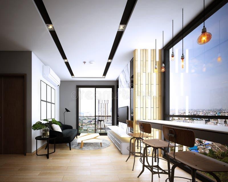 Diseño de la sala de estar, interior del estilo acogedor moderno, ilustración del vector