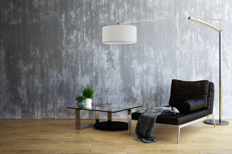 Diseño de la sala de estar, interior del estilo industrial, 3d representación, ejemplo 3d stock de ilustración