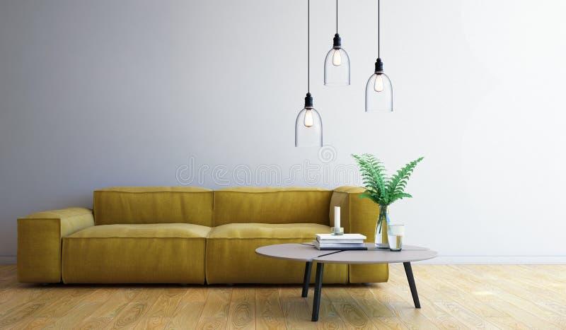 Diseño de la sala de estar, interior del estilo moderno, 3d representación, ejemplo 3d ilustración del vector