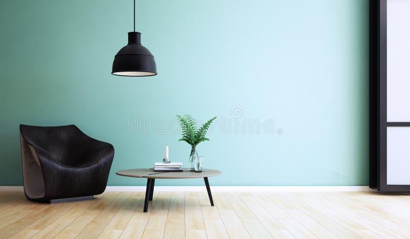 Diseño de la sala de estar, interior del estilo moderno, 3d representación, ejemplo 3d libre illustration