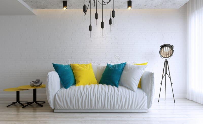 Diseño de la sala de estar, interior del estilo moderno del desván stock de ilustración