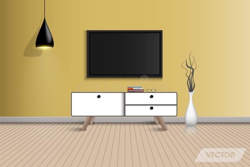 Diseño de la sala de estar y decorativo interiores, vector, ejemplo libre illustration