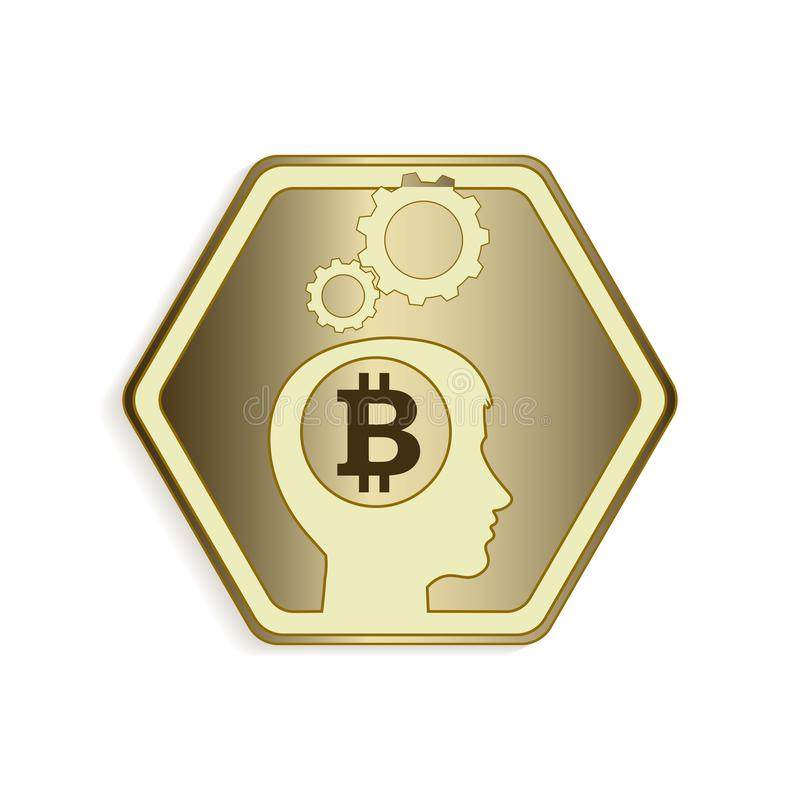 Diseño de la silueta de la cabeza humana con la silueta de la muestra del bitcoin libre illustration