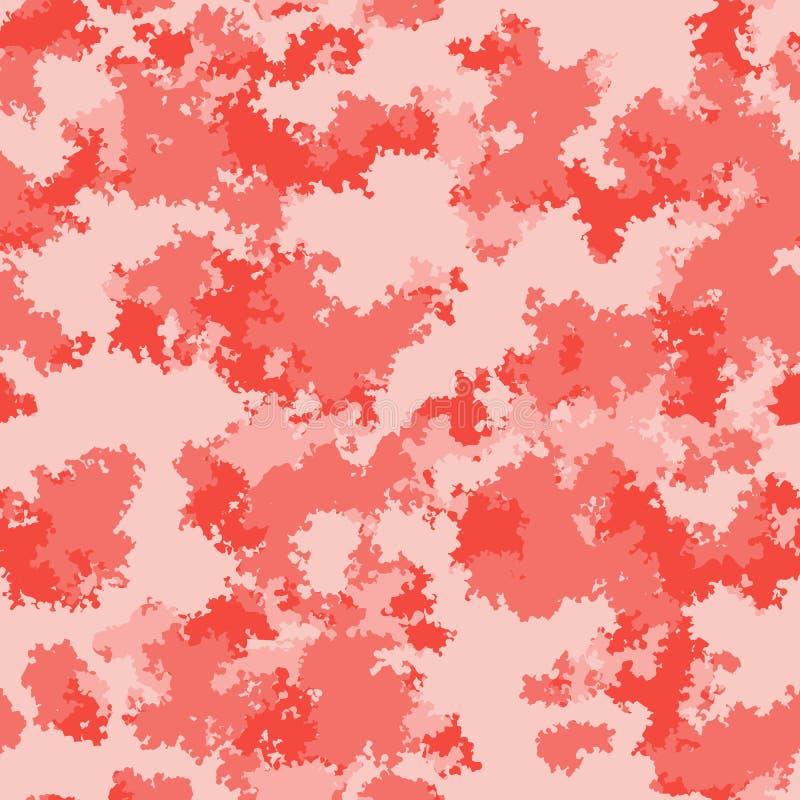 Diseño de la superficie del camo de la moda Modelo rosado rojo de color salmón de vida de la tela del camuflaje de moda de mármol stock de ilustración
