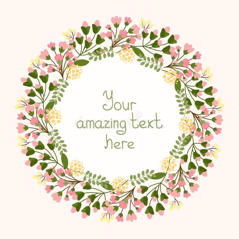 Diseño de la tarjeta de felicitación con una guirnalda floral stock de ilustración