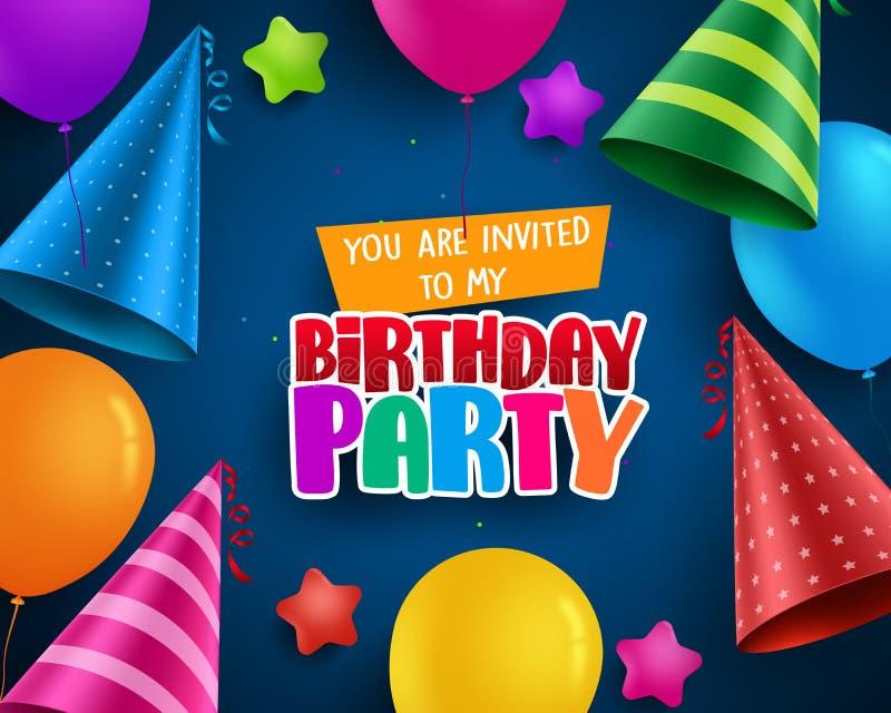Diseño de la tarjeta de felicitación de la invitación del vector de la fiesta de cumpleaños con los sombreros coloridos del cumpl ilustración del vector