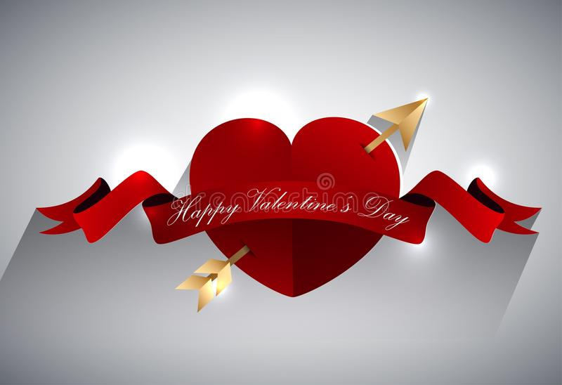 Diseño de la tarjeta de felicitación de las tarjetas del día de San Valentín, corazón con la flecha del oro y cinta roja ilustración del vector