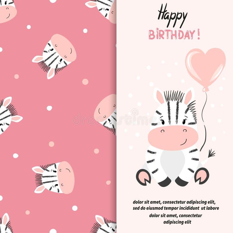 Diseño de la tarjeta de felicitación del feliz cumpleaños con la pequeña cebra linda ilustración del vector