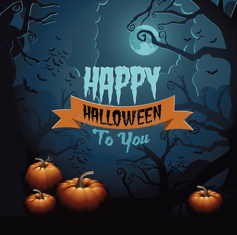 Diseño de la tarjeta de felicitación del feliz Halloween libre illustration