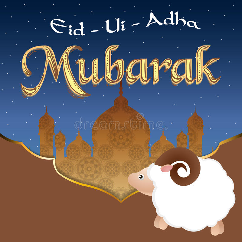 Diseño de la tarjeta de felicitación del vector con las ovejas lindas del bebé para la comunidad musulmán, festival del sacrifici stock de ilustración