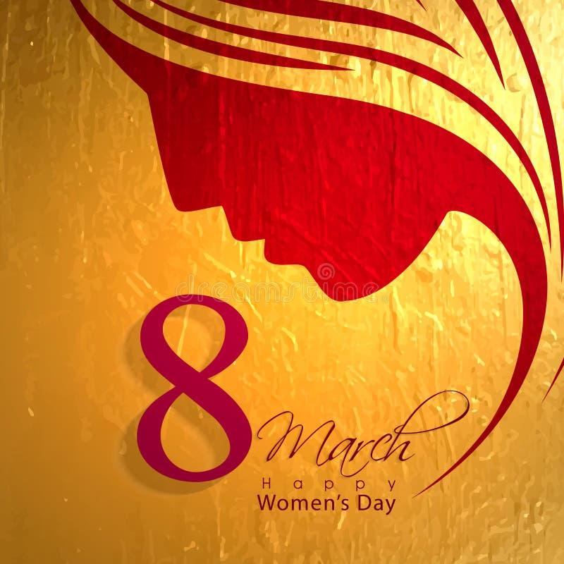 Diseño de la tarjeta de felicitación para la celebración del día de las mujeres stock de ilustración