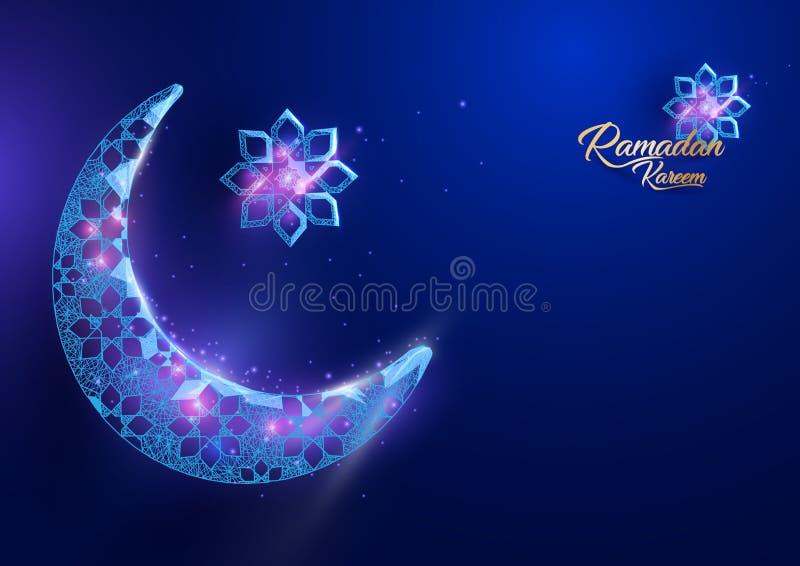 Diseño de la tarjeta de felicitaciones de Ramadan Kareem con la luna creciente stock de ilustración