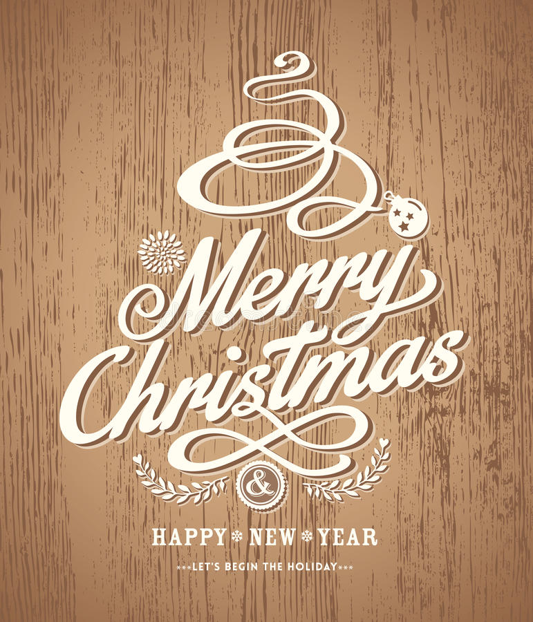 Diseño de la tarjeta de Navidad en el fondo de madera de la textura ilustración del vector