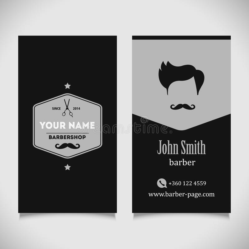 Diseño de la tarjeta de visita de la peluquería de caballeros del salón de pelo ilustración del vector