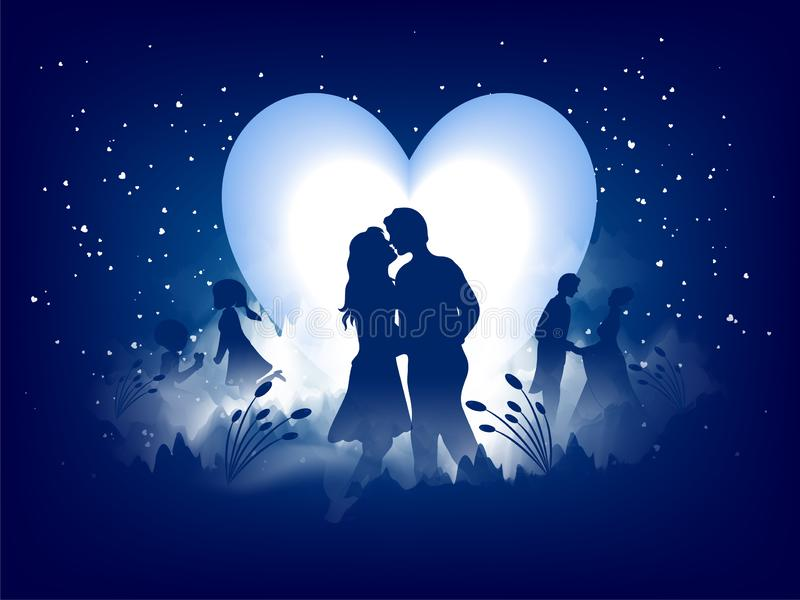 Diseño de la tarjeta de felicitación del amor, silueta romántica de pares de amor en fondo de la vista nocturna libre illustration