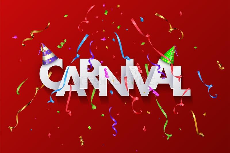 Diseño de la tarjeta de felicitación del carnaval con las letras cortadas de papel y la serpentina colorida en fondo rojo Ilustra ilustración del vector