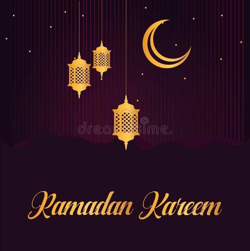 Diseño de la tarjeta de felicitación del eid de Ramadan Kareem Linternas árabes del oro y luna creciente en fondo púrpura ilustración del vector