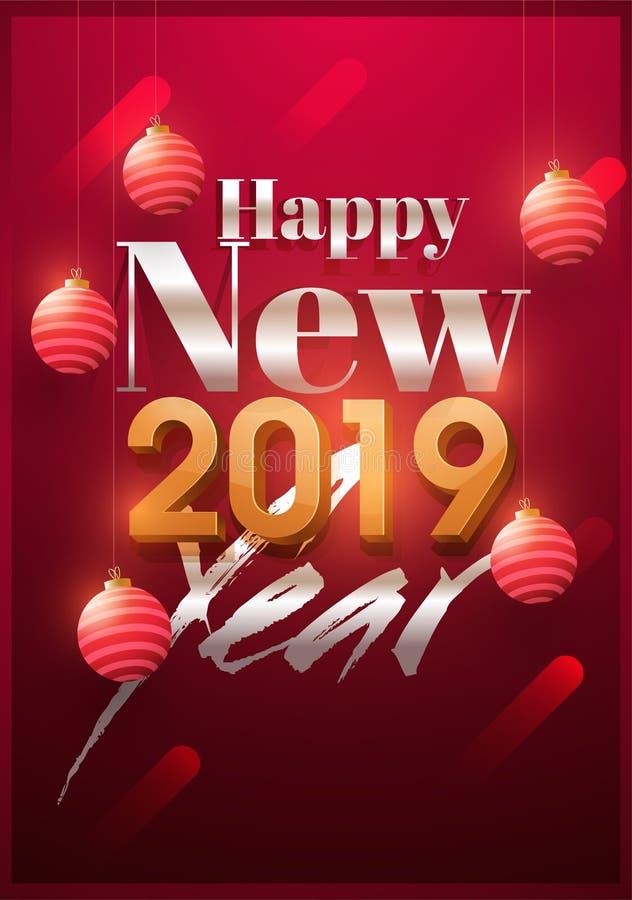 Diseño 2019 de la tarjeta de felicitación de la Feliz Año Nuevo adornado con realisti stock de ilustración