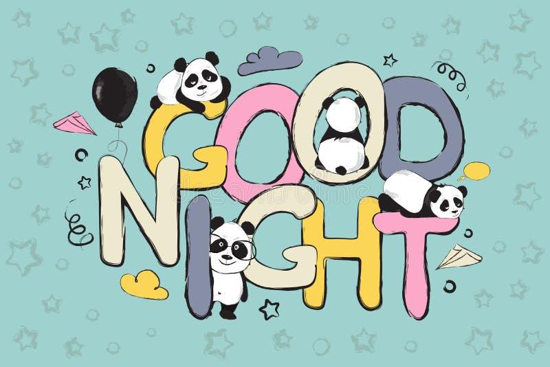 Diseño de la tarjeta de felicitación de las buenas noches con los osos y cita de panda lindos libre illustration