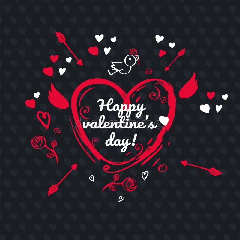 Diseño de la tarjeta de felicitación para el día de tarjetas del día de San Valentín en bacground negro ilustración del vector