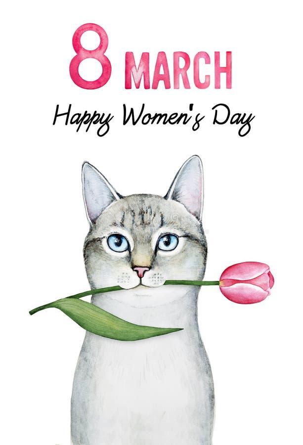 Diseño de la tarjeta de felicitación para el 8 de marzo, día internacional del ` s de las mujeres libre illustration