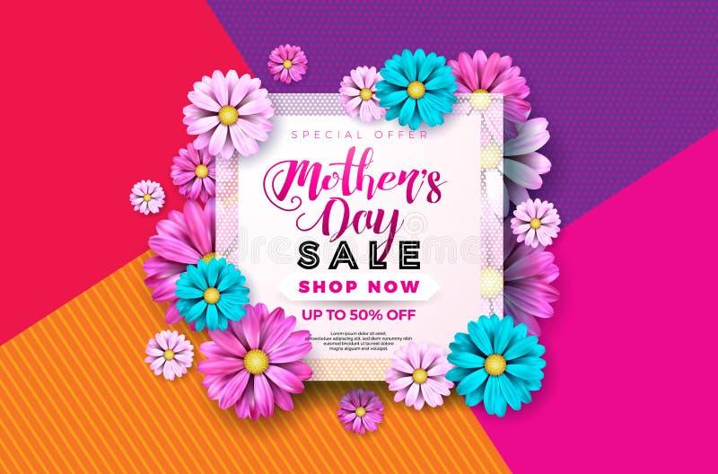 Diseño de la tarjeta de felicitación de la venta del día de madres con la flor y elementos tipográficos en fondo abstracto Celebr libre illustration