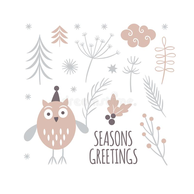 Diseño de la tarjeta de felicitaciones de las estaciones, búho lindo ilustración del vector