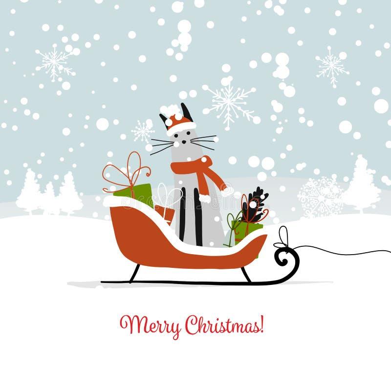 Diseño de la tarjeta de Navidad, trineo con el gato de santa ilustración del vector