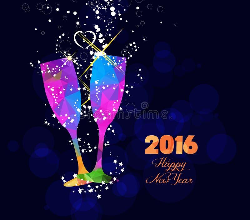 Diseño de la tarjeta 2016 o del cartel de felicitación de la Feliz Año Nuevo con el vidrio colorido del triángulo ilustración del vector