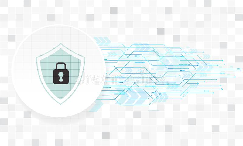 Diseño de la tecnología de seguridad del vector con diverso tecnológico en el fondo blanco libre illustration