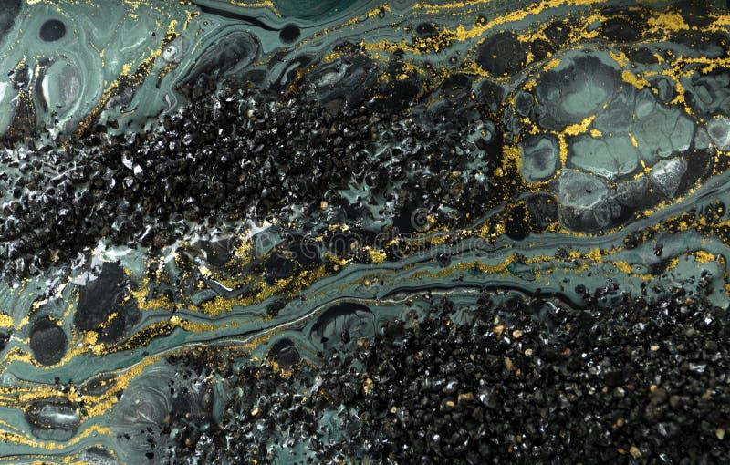 Diseño de la textura del oro que vetea Modelo de mármol azul y de oro Arte flúido fotos de archivo libres de regalías