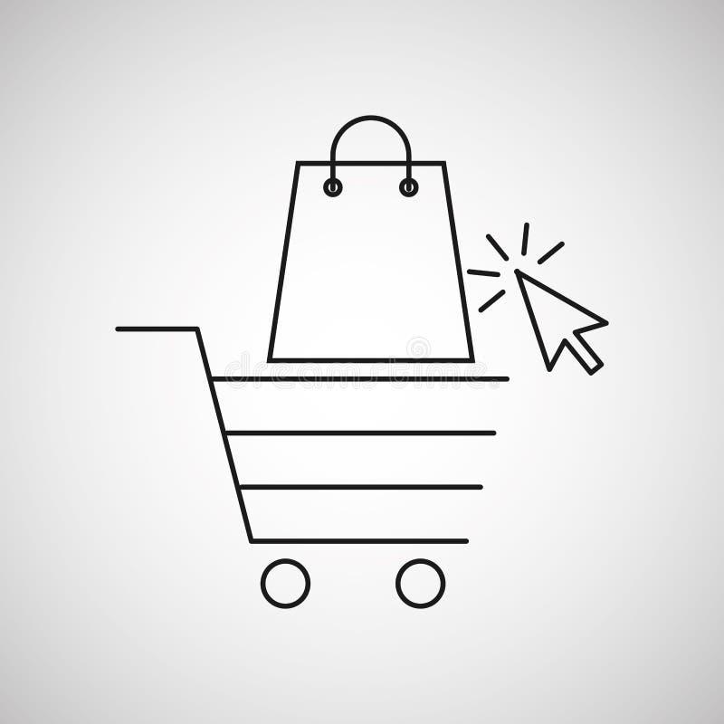 Diseño de la tienda del carro y del bolso del comercio electrónico del concepto libre illustration