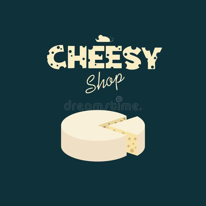 Diseño de la tienda del queso con tipografía creativa de stock de ilustración