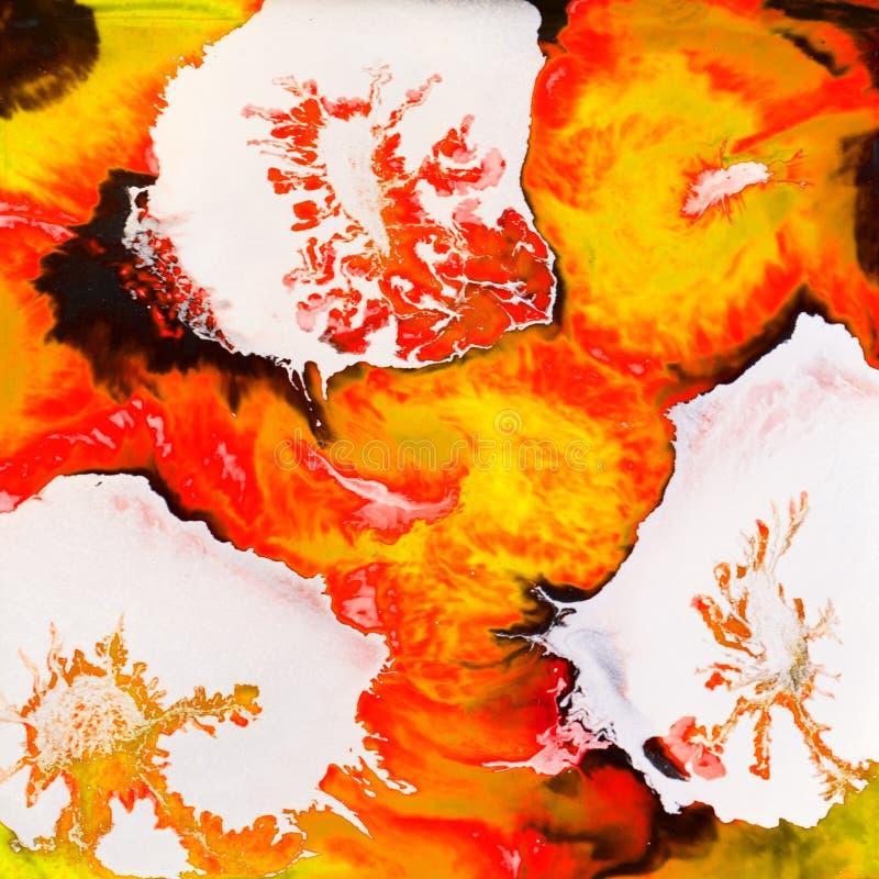 Diseño de la tinta del alcohol de las flores de la plata ilustración del vector