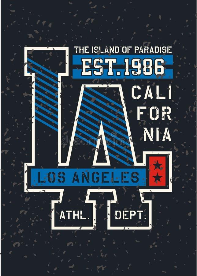 Diseño de la tipografía de California del LA ilustración del vector