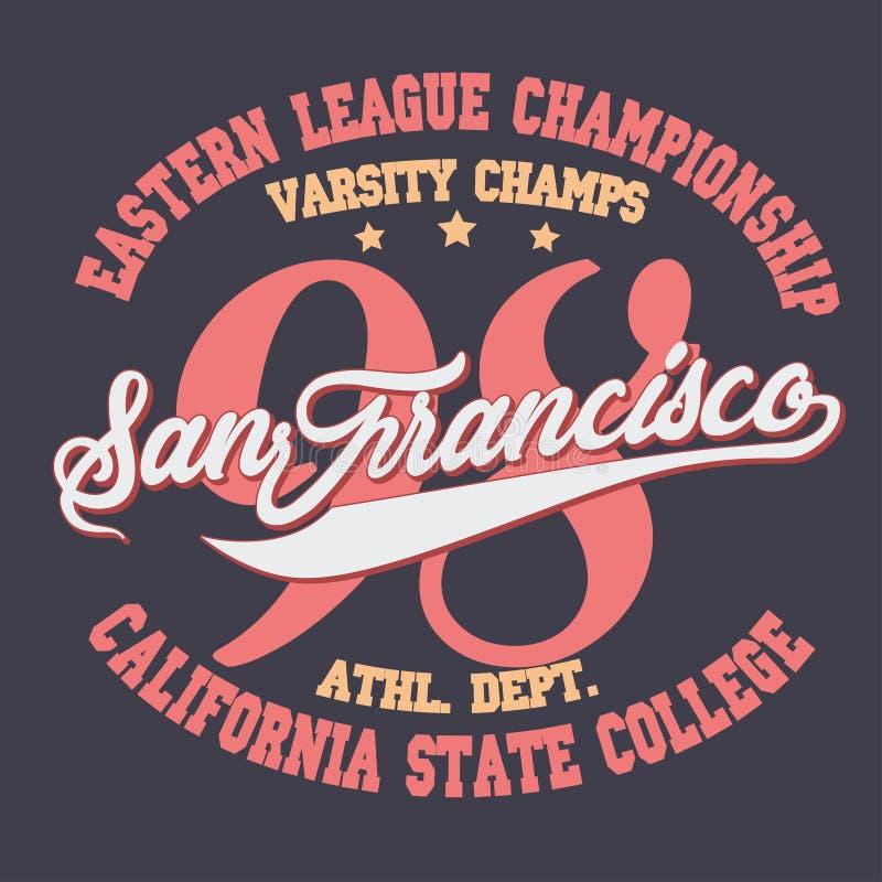 Diseño de la tipografía de la camiseta del desgaste del deporte de California Vector stock de ilustración