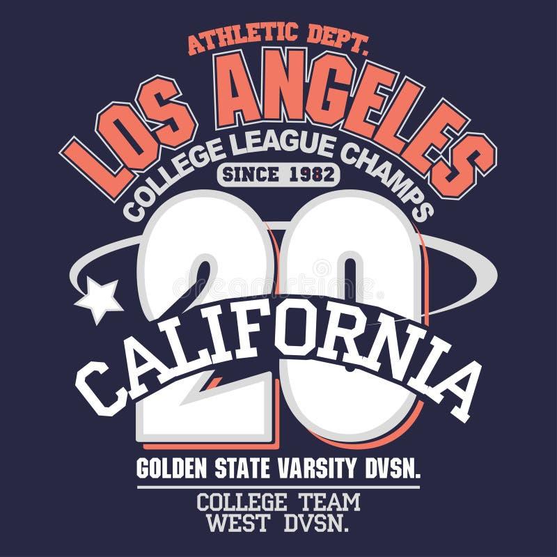 Diseño de la tipografía de la camiseta del desgaste del deporte de California Vector ilustración del vector